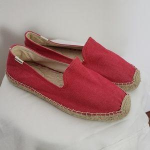 Soludos Red Denim Slip On Espadrille Sandal